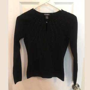 Cabo Sweater Blk Ribbons & Beads Long Sleeve, SM